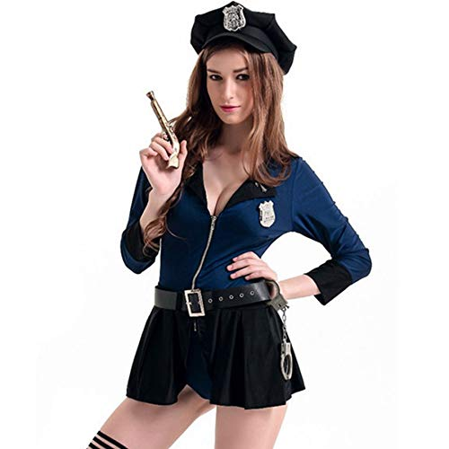 (FORNY Women Police Costume Cosplay Dirty Cop Uniform Halloween Officer Outfits (style15) Black)