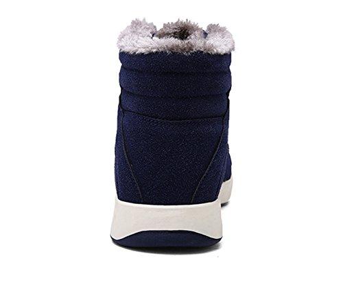 Santimon Sneeuw Enkellaars Heren Suede Veter Comfort Warme Winterschoenen Antislip Hoge Top Bootie Outdoor Sneaker Donkerblauw