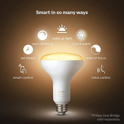 Philips Hue 2-Pack White Ambiance BR30 60W Equivalent Dimmable LED Smart Flood Light (Works with Alexa Apple and Google Assistant)
