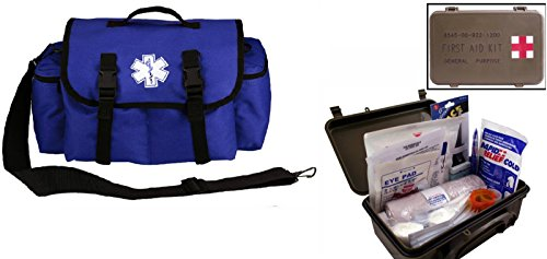 Ultimate Arms Gear Deluxe Blue Emergency Survival Rescue Bag Kit   First Aid Trauma Kit General Purpose In Waterproof Carrying Storage Case  Usa Made  Fully Stocked 58 Piece Kit