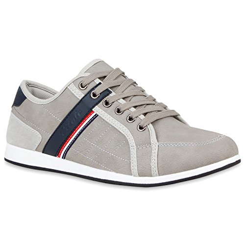 Stiefelparadies Herren Sneakers Gesteppt Denim Sportschuhe Sneaker Low Turnschuhe Schnürer Freizeit Schuhe Leder-Optik Flandell Grau Grigio