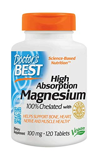Doctor's Best High Absorption Magnesium with Bioperine (200 mg Elemental), Tablets, 120-Count (Doctors Best High Absorption Magnesium)