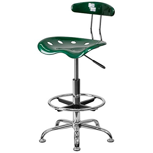 - Delacora LF-215-GREEN-GG 17.25 Inch Wide Metal Swivel Seat Drafting Stool with Tractor Seat