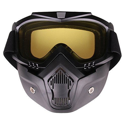 PiscatorZone Goggles Mask Tactical Goggles with Detachable Face Mask for Cycling Skiing Outdoor CS Paintball (Yellow)