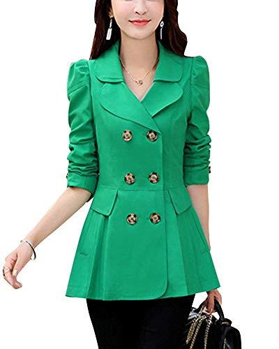 Femme Outerwear Printemps Automne Manches Longues Fille Slim Fit Blouson Manteau Double Boutonnage Elgante Loisir Mode Classique Couleur Unie Coat Vtements D'Extrieur Grn