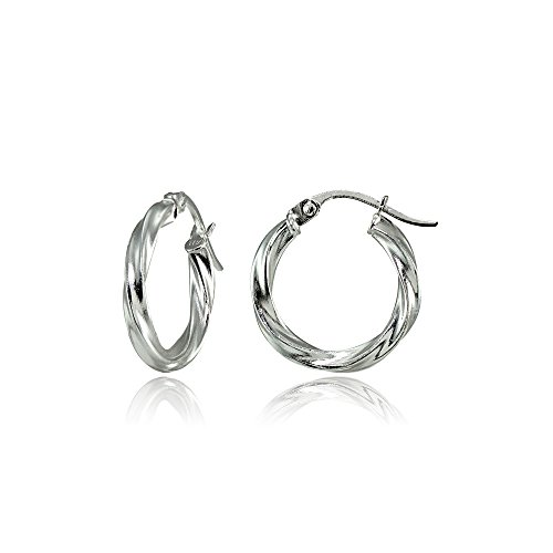 (Hoops & Loops Sterling Silver 2mm Twist Round Hoop Earrings, 15mm)