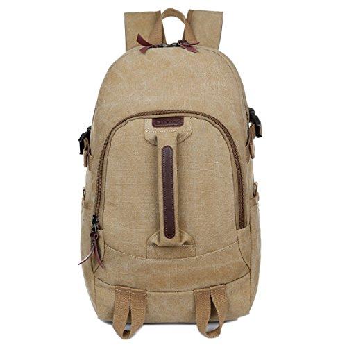 BULAGE Taschen Leinwand Schultern Männer Und Frauen Gymnasiasten Schultaschen Lässig Im Freien Rucksack Reisen Wandern Taschen Khaki
