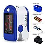 AccuMed CMS-50DL Finger Pulse Oximeter Blood Oxygen SpO2 Sports and Aviation Fingertip Monitor w/Carrying case, Lanyard Silicon Case & Battery (Blue)