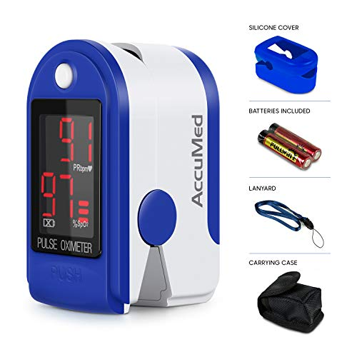- AccuMed CMS-50DL Fingertip Pulse Oximeter Blood Oxygen SpO2 Sports and Aviation Fingertip Monitor w/Carrying case, Lanyard Silicon Case & Battery (Blue)