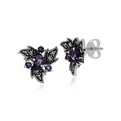 Gemondo Amethyst Earring, Sterling Silver Amethyst & Marcasite Noveau Floral Earrings