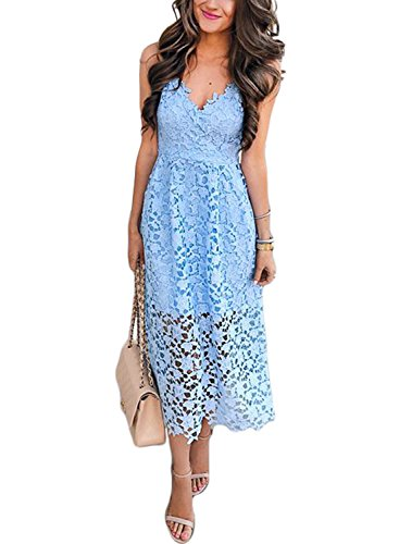 - AlvaQ Women's Sexy V Neck Spaghetti Straps Sleeveless Backless Crochet Lace Knee Lngth Midi Dress Party Cocktail Wedding Night Dreeese Medium Blue