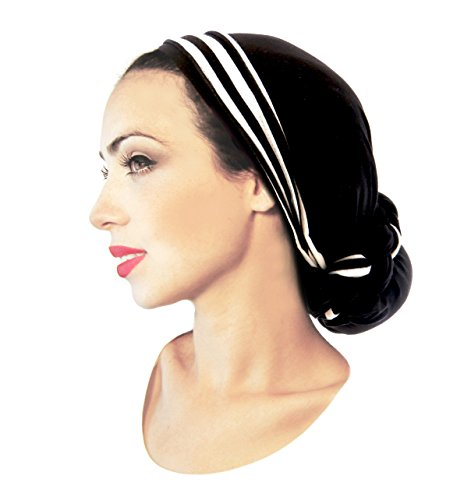 ShariRose Boho Chic Long Headscarf Tichel Headwear for Women with Long Versatile wrap! Handmade (Black w/Stripe - 329)