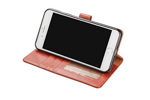 Funda iPhone 8 Plus billetera, iPhone 7 Plus maletín de cartera, Aomo [cartera caso] [pie de pie característica] [titular de la tarjeta] de cuero de la PU cubierta protectora de la caja del teléfono p BXYLmarrón