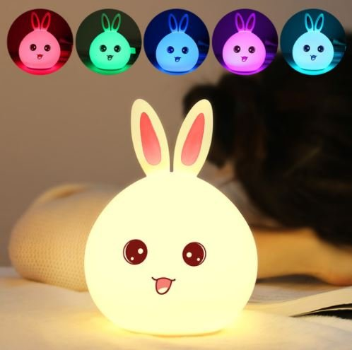 Baby Night Light,Rabbit Silicone Lamp Nursery lamps Room nightlight lighting Portable LED Bunny Lamp USB Rechargeable Children Night Light Energy Saving light Warm White Colorful Models (Green)