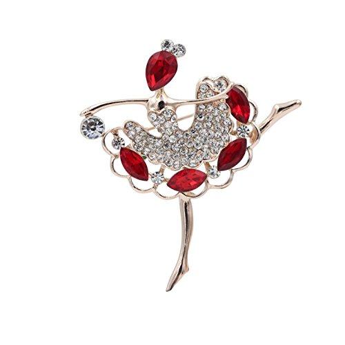 Totoroforet Ballet Dancing Girl Zircon and Rhinestones 14K Gold Plating Brooch/Pin-Ruby Red