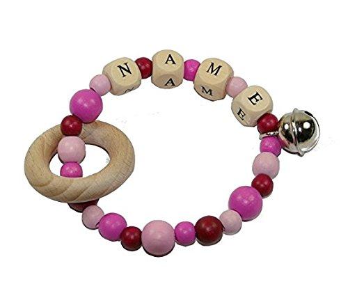 Greifling personalisiert//Geschenk zur Geburt dubistda/© Windeltorte Windelwagen rosa mit Name inkl 21-teilig