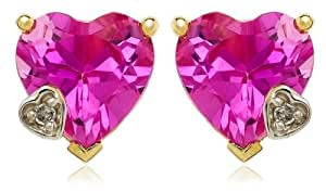 10k Yellow Gold Heart-Shaped Lab-Created Pink Sapphire Earrings w/ Diamond Accent