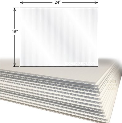 "24-Pack - corrugated plastic 4MM white Sign Blanks - 24""x18"""