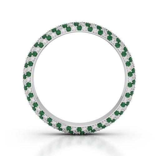 Or blanc 18carats 1,35CT G-H/VS sertie de diamants ronds découpé Émeraude et bague éternité Agdr-1115
