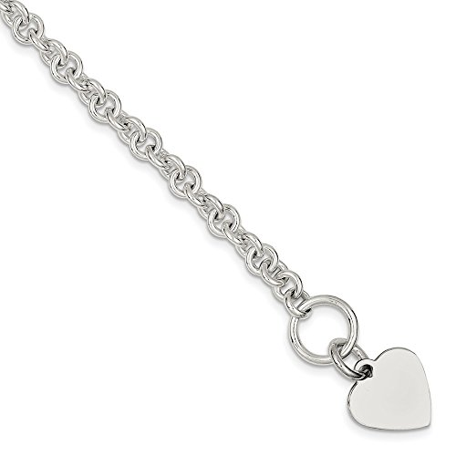 925 Sterling Silver Engraveable Heart Disc On Link Toggle Bracelet 7.75 Inch Charm/love Fine Jewelry Gifts For Women For Her