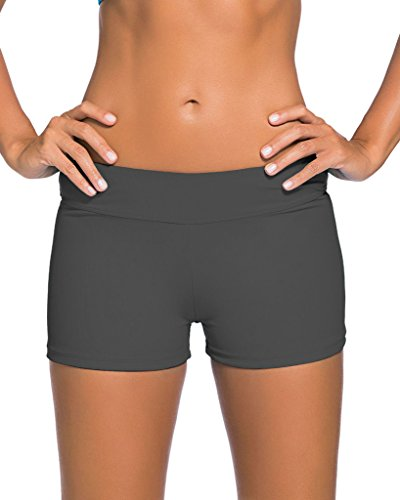 Aleumdr Wide Waistband Bottom Shorts Swimming Panty Grey Small(FBA) - Grey Bikini Bottoms