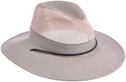 Dorfman Pacific Men's Twill Mesh Safari Hat With Chin Cord,Camel,XX-Large ()