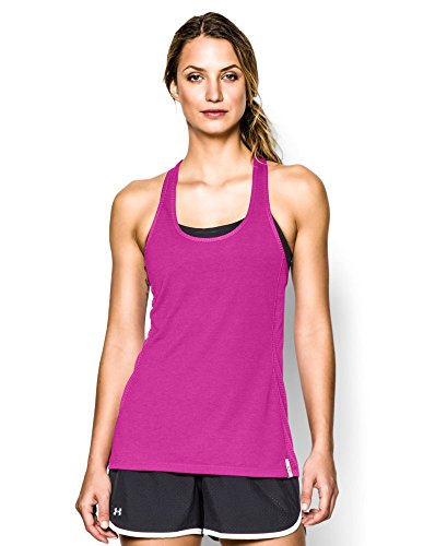 Under Armour Women's UA Fly-By Stretch Mesh Tank Large REBEL PINK