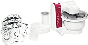 Bosch Küchenmaschine MUM 4825 weiss/rot 600 Watt, 4 Schaltstufen ...