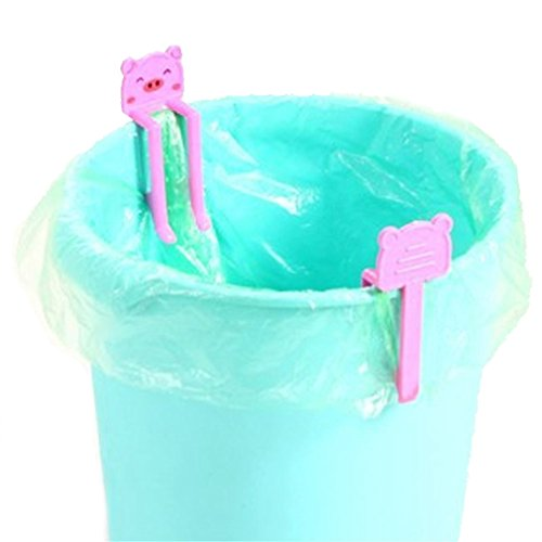 Fast Song Costumes (SONG LIN 2 pcs Pink Cute Cartoon Animal Creative Garbage Bag Clip Holder Trash Bin Clips)