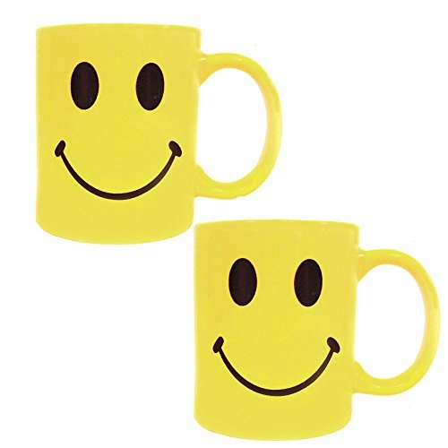 Yellow Retro Smiley Face Coffee Cup Mug - Ceramic - 8 Oz -