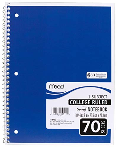 Mead SLTYGJHJ Spiral Notebooks, 1 Subject, College Ruled Paper, 70 Sheets, 10-1/2'' x 7-1/2'', Assorted Colors, 6 Pack (73065) 36 Pack by Mead (Image #1)