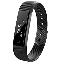 Ginsy Fitness Tracker Smart Wristband with Touch Screen Sleep Monitor Bluetooth Smart Bracelet for Android IOS (Black)