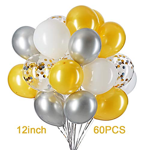 12 in Gold Sivler White and Confetti Balloons Party Decorations Supplies Pack of 60,4 Style]()
