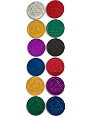 Recovery Mint Aluminum AA Meeting Newcomer Sobriety Chips/Coins/Tokens - Complete Set of 12 Medallions - Includes: 24 Hours, 1/2/3/4/5/6/7/8/9/10/11 Months