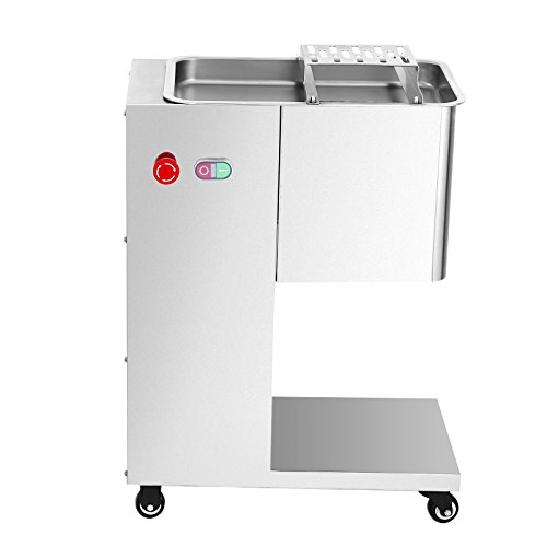 Mophorn Meat Slicer 500KG/H 550W Stainless Steel Fresh MeatCutter Commercial Grade Restaurant Meat Processing Machine ElectricSlicer 3mm Cutting Blade with Pulley (500KG/H 550W with Pulley)