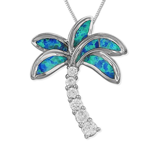 Sterling Silver Synthetic Blue Opal Palm Tree Pendant Necklace, 16+2