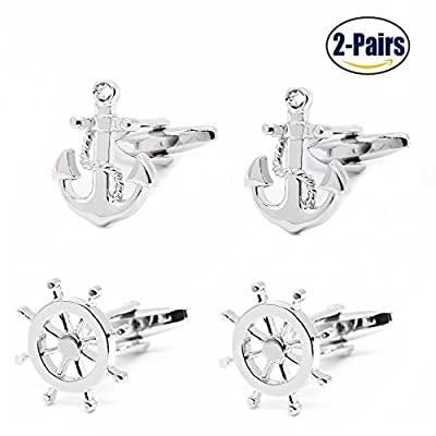 2 Pairs Mens Cufflinks Nautical Anchor and Ship Wheel Unique Wedding Business Shirt Cuff Links Mix Design Set For Mens Jewelry With Gift Box By Gilind