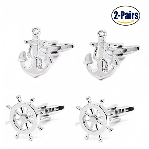 Nautical Link (2 Pairs Mens Cufflinks Nautical Anchor and Ship Wheel Unique Wedding Business Shirt Cuff Links Mix Design Set For Mens Jewelry With Gift Box By Gilind)