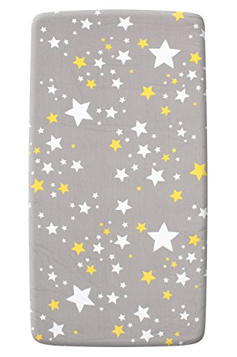 Crib Print Top Sheet - Kiddy Bird 100% Cotton Crib Fitted Sheet Stars Multi/ Grey Environmental Cartoon Print Breathable Comfortable and Durable - Top Quality for Girls Boys Infants Toddlers