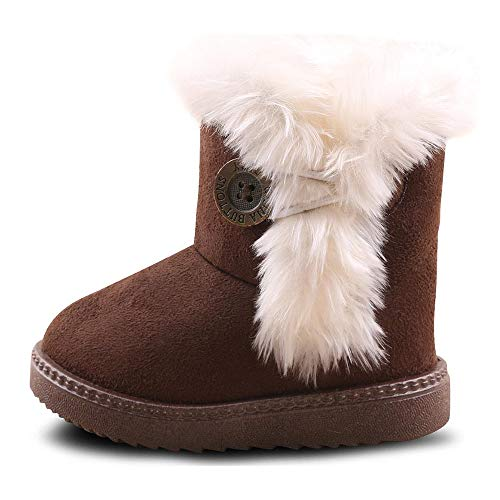 Kids Baby Booties Boys Girls Plush Warm Winter Shoes Hiking Snow Boots Toddler/Little Kid (9.5 M US Toddler, B-Coffee)