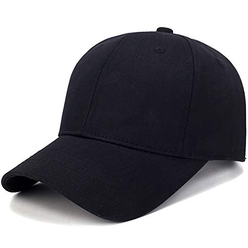 Jialili Unisex Casual Cotton Solid Baseball Cap Sun Hat Sport Outdoor Cap (Black)
