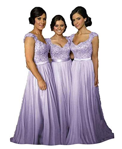 Fanciest Women' Cap Sleeve Lace Bridesmaid Dresses Long Wedding Party Gowns Lavender - Gown Sleeve