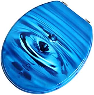 RBZCCP 便座MDF素材ブルー便座厚く、U/O / V字型のトイレのために簡単にインストールするには耐久性のある36-38* 43〜47センチメートル ほとんどのトイレに適合