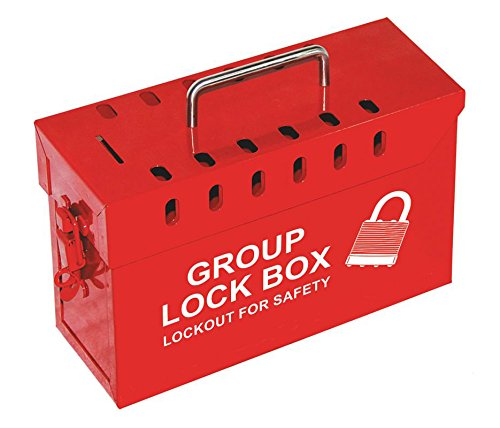 Lockout Safety Supply 7299R-UN Group Lockout Tagout Box, Portable, Steel, Red by Lockout Safety Supply