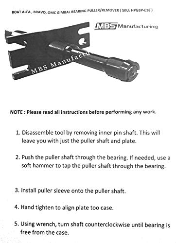 MBS Mfg Boat Alpha, Bravo, Omc Gimbal Bearing Puller/Remover by MBS Mfg (Image #6)