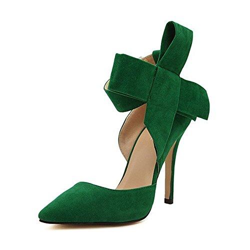 SOIXANTE talon aiguille femmes Vert en bouts velours Escarpin à pointu Chaussure ZqwPIrZ