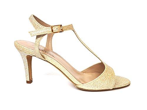 Cristina Sandalo Glitterata Donna 4956 Pelle In Maria Gold Mainapps Oro go 6xFdUdT