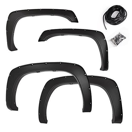 Premium Fender Flares for 1999-2006 Chevy Silverado/GMC Sierra (1500/2500/3500HD models only) | Smooth Black Paintable Pocket Bolt On Style Wheel Fenders Flare Truck Accessories 4pcs Set 2000 01 02