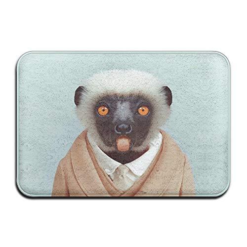 WORLDWOOD Animals Dressed Like Humans Vervet Monkey Non-Skid Slip Door Mat Washable Indoor/Outdoor Low Profile Doormat with Stylish Door Inspired Design 15.7x23.6 inch/60x40cm