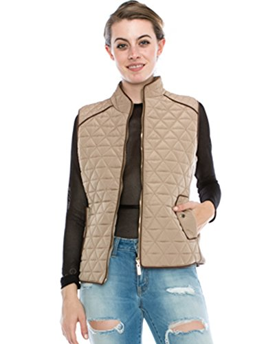 Beige Womens Quilted Vest (JEZEEL Women's Lightly Padded Quilted Vest.(JVP8121,XL,Taupe))